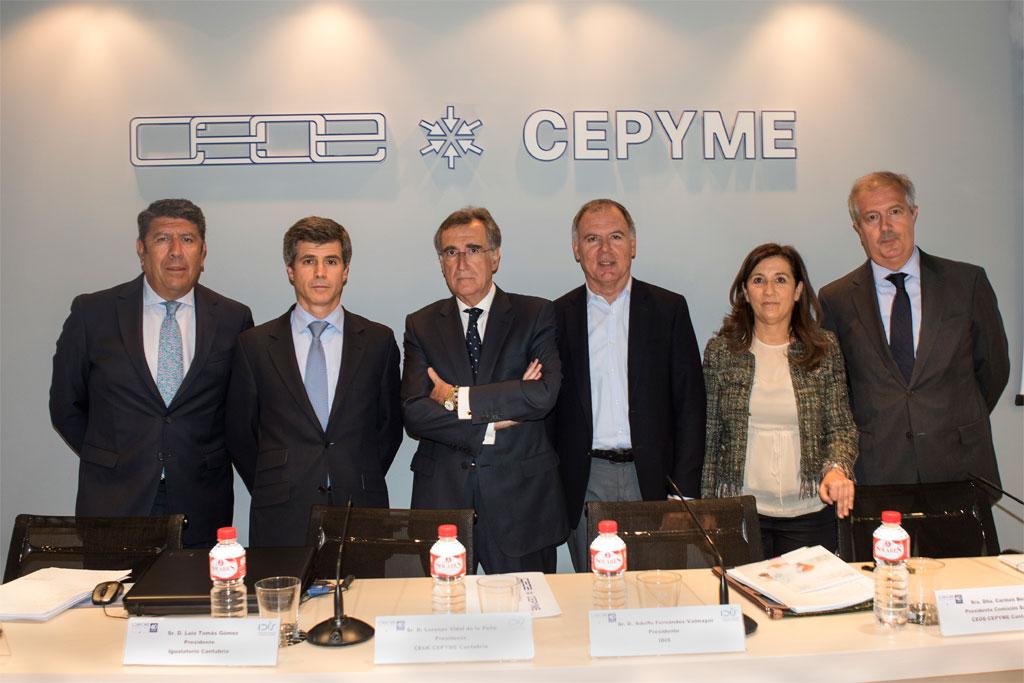 Manuel Vilches (IDIS), Adolfo Fernández-Valmayor (IDIS), Luis Tomás Gómez (Igualatorio Cantabria), Lorenzo Vidal de la Peña y Carmen Busto, ambos de CEOE-CEPYME (Cantabria) y Luis Mayero (IDIS).