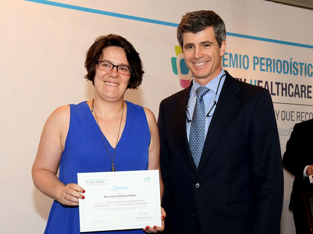 Laura Gutiérrez (Diario Médico), mención especial junto a Adolfo Fernández-Valmayor (IDIS)