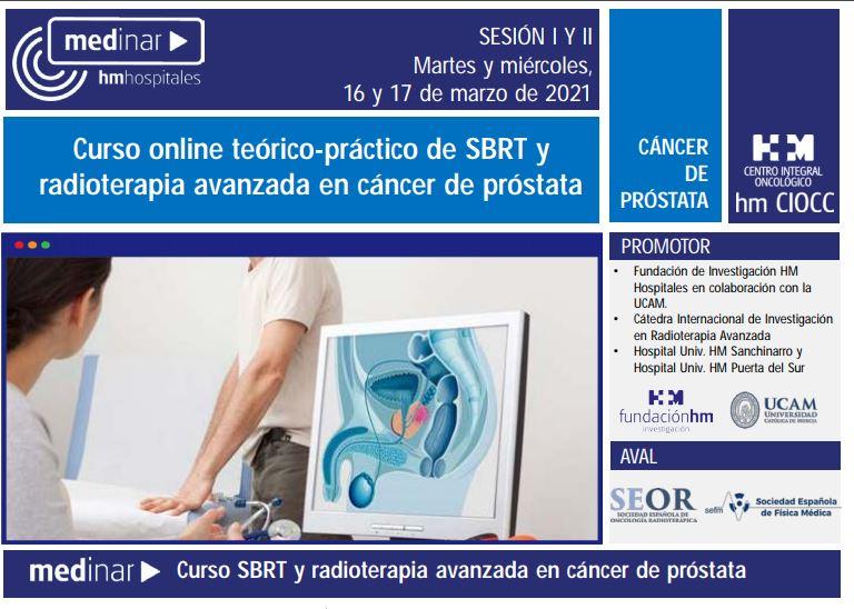 Curso online teórico-práctico de SBRT y radioterapia avanzada en cáncer de próstata